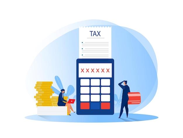Деловые люди, рассчитывающие документ для налогов плоской иллюстрации Premium векторы