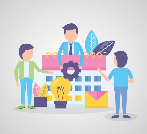 Business people calendar gear Free Vector
