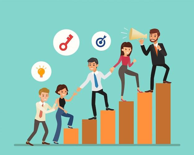 ビジネス人々の漫画は、グラフに登り。文字付きのはしご。チームワーク、パートナーシップ、リーダーシップの概念。図。 Premiumベクター