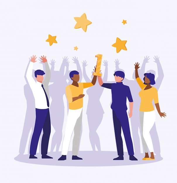 Business people celebrating with number one and stars Premium Vector