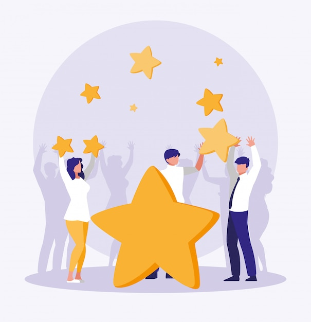 Business people celebrating with stars Premium Vector