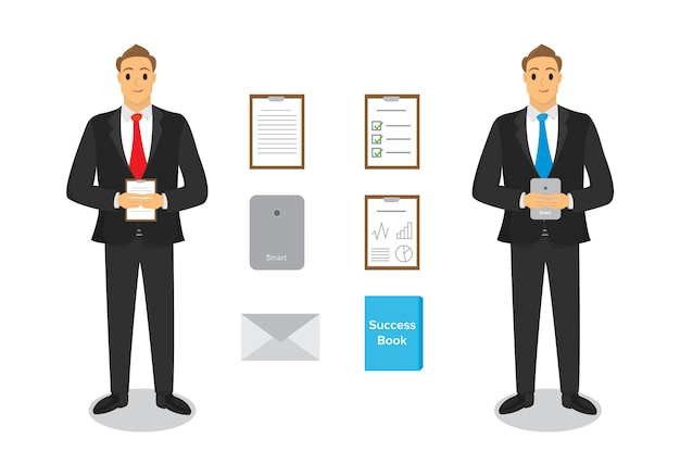 Business people character design with paper Premium Vector