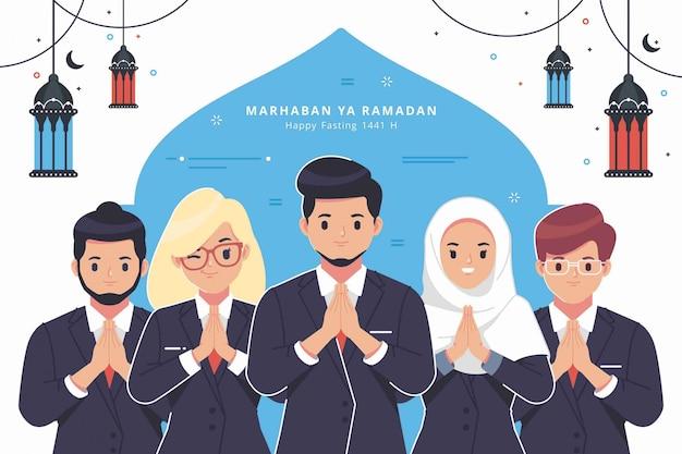 Business people character ramadan greeting background Premium Vector