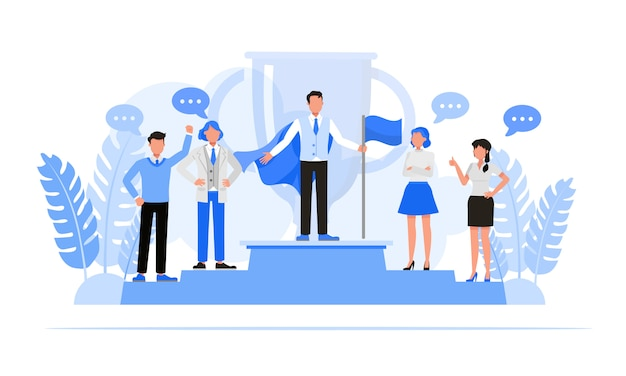 Business people character set  . business concept of leadership and teamwork concept. Premium Vector