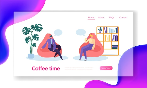 Business people characters relaxing on coffee time break sitting in comfortable armchairs in room. office lifestyle landing page. Premium Vector