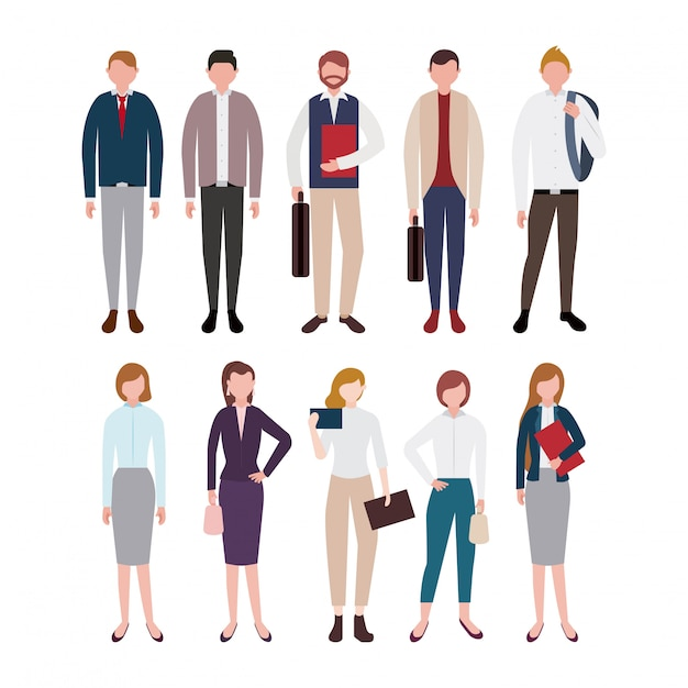 Business people characters set Free Vector
