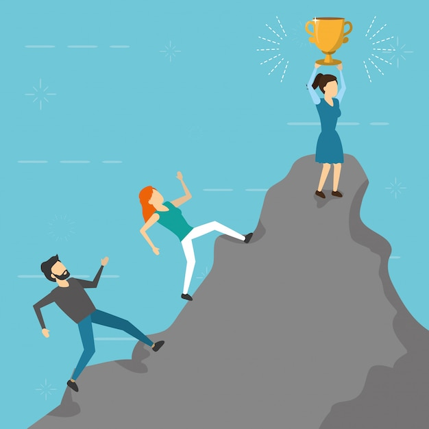 Business people climbing mountain trophy, flat style Free Vector