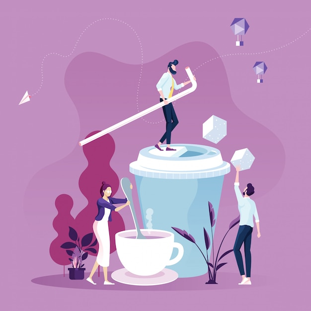 Business people on coffee break Premium Vector