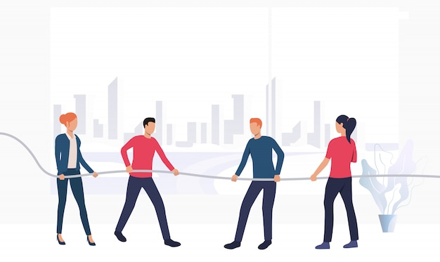 Business people competing in tug-of-war banner Free Vector