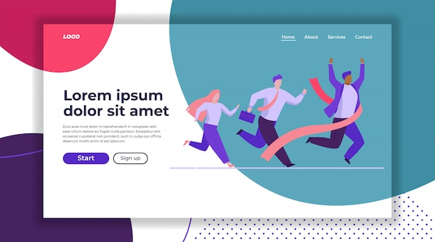 Business people competition landing page template Free Vector