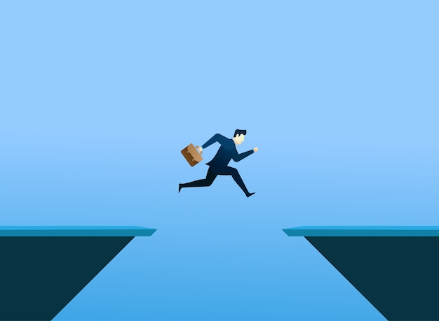 Business people concept jump and hold bag Premium Vector