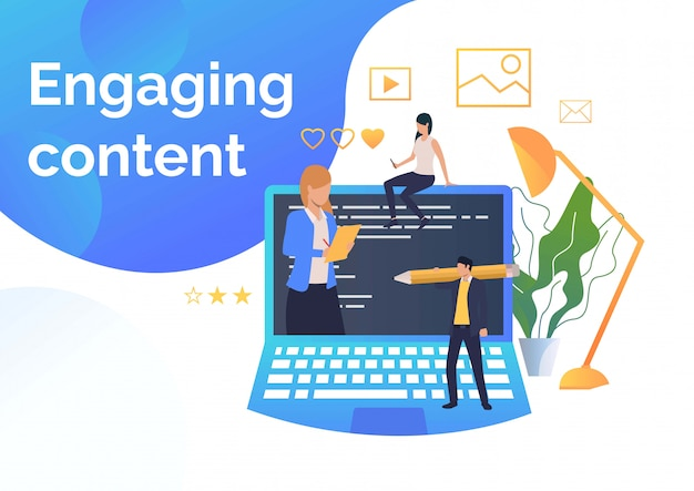 Business people creating engaging content Free Vector