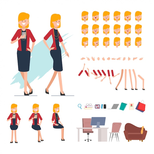 Business people creation character for animation scene. Premium Vector