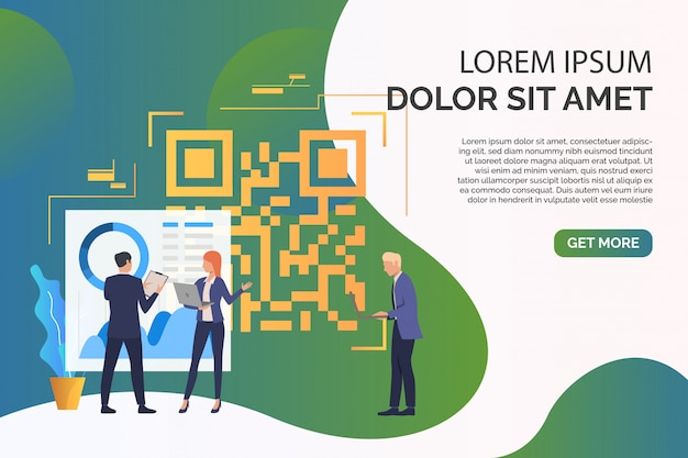Business people discussing issues, big qr code with sample text Free Vector
