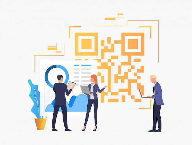 Business people discussing issues in office and big qr code Free Vector