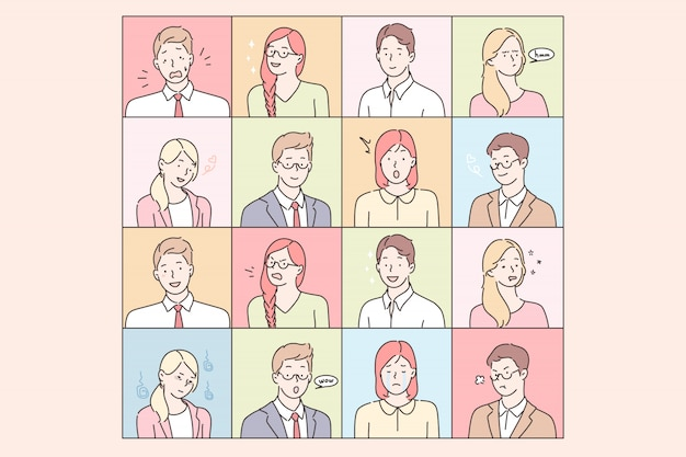 Business people emotions and facial expressions set concept Premium Vector