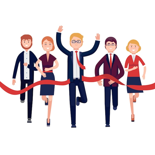 Business people finishing a market race Free Vector