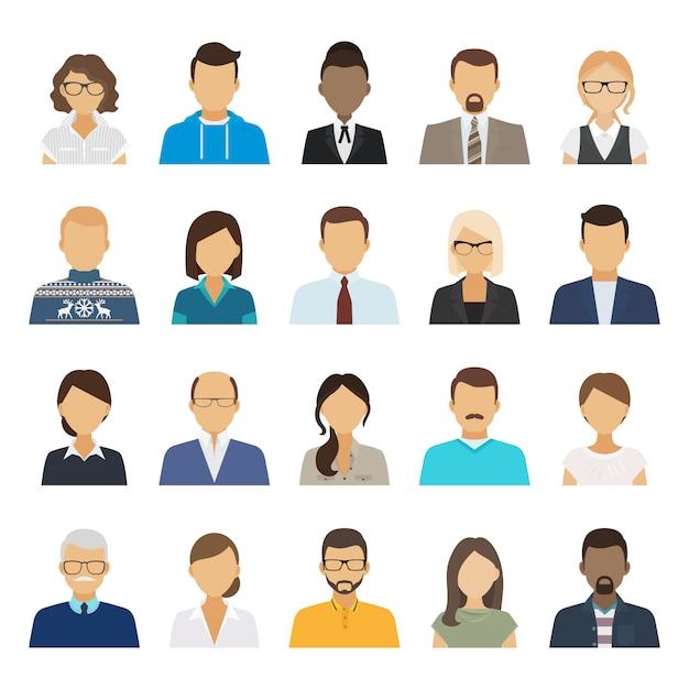 Business people flat avatars. Premium Vector