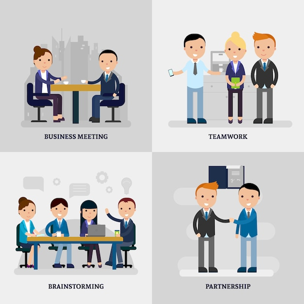 La gente di affari piatto concetto Vettore gratuito