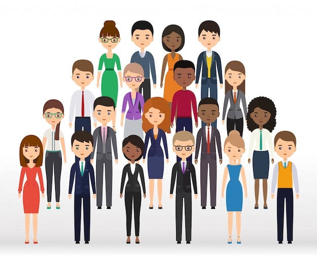 Business people flat silhouettes Premium Vector