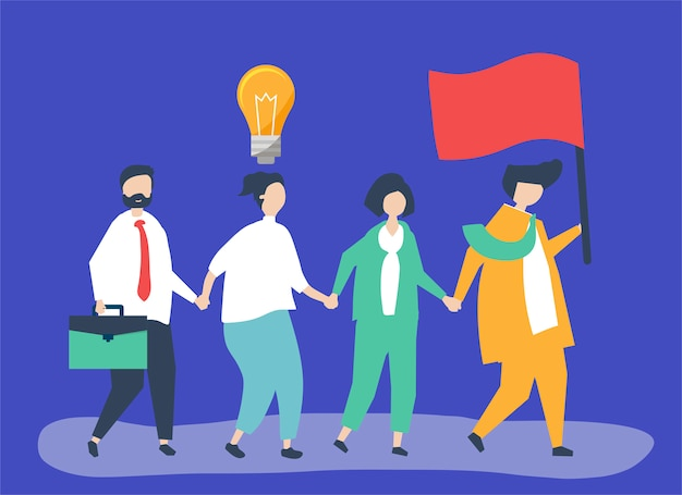Business people following the leader to find a new market Free Vector