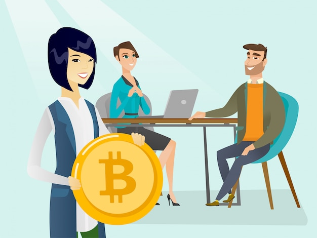 Business people getting bitcoin coin for start up. Premium Vector