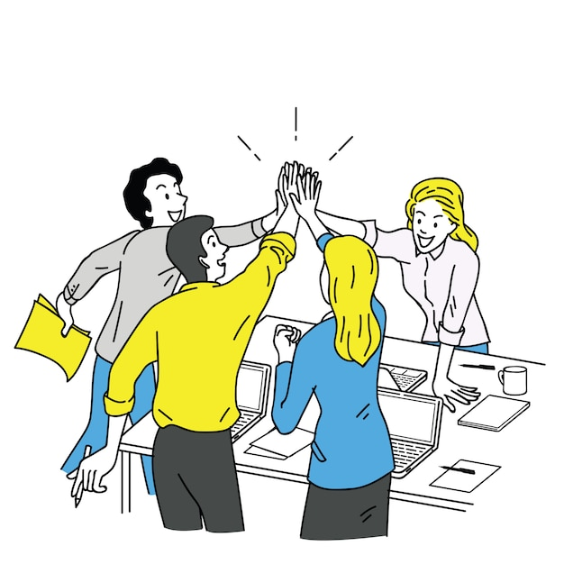 Business people giving high five Premium Vector