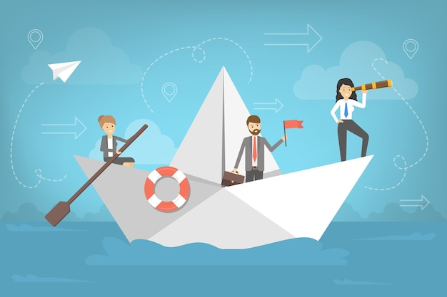 Business people go to the success on paper boat. team with leader search for direction. metaphor of teamwork. journey on the sea. Premium Vector