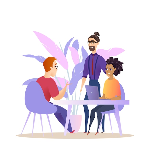 Business people group brainstorm conversation Premium Vector