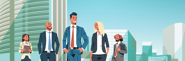 Business people group diverse team banner Premium Vector