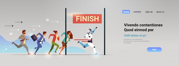 Business people group and robot competing run to finish line artificial intelligence technology win concept flat horizontal Premium Vector