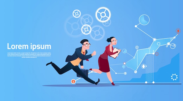 Business people group run team finance graph competition concept Premium Vector