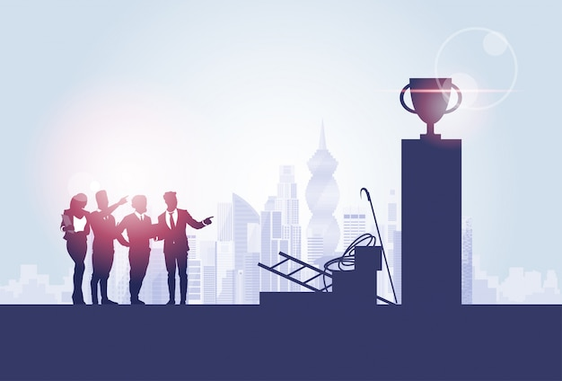 Business people group silhouettes over city landscape cup competition concept Premium Vector
