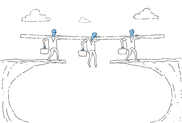Business people group walk over cliff gap businesspeople team risking Premium Vector