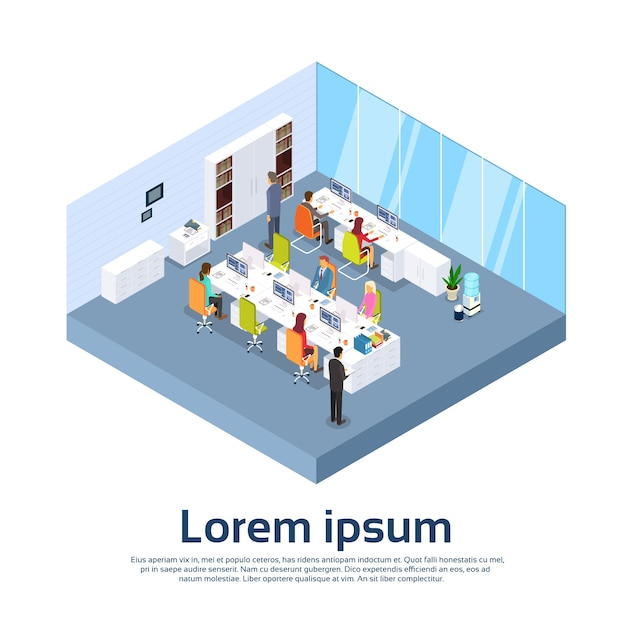 Business people group work modern office interior Premium Vector