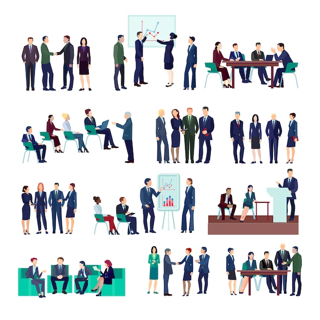 Business people groups collection at meetings briefings conference discussing different projects Free Vector