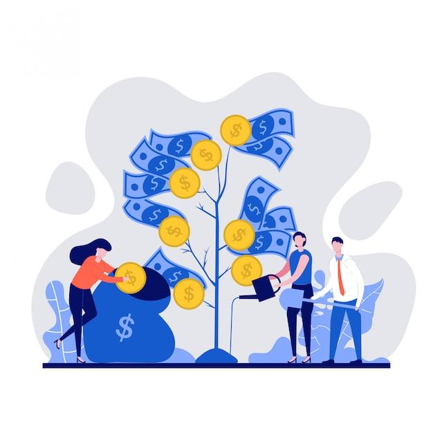 金のなる木を育て、植え、水をまくビジネス人々。ビジネス、金融、投資、成長、繁栄の概念図。 Premiumベクター