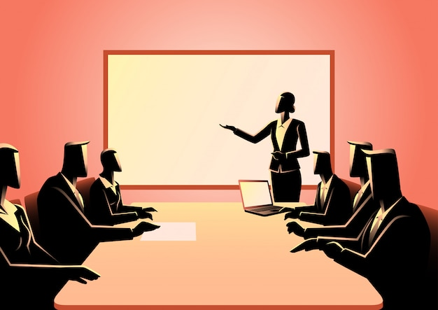 Business people having a meeting Premium Vector
