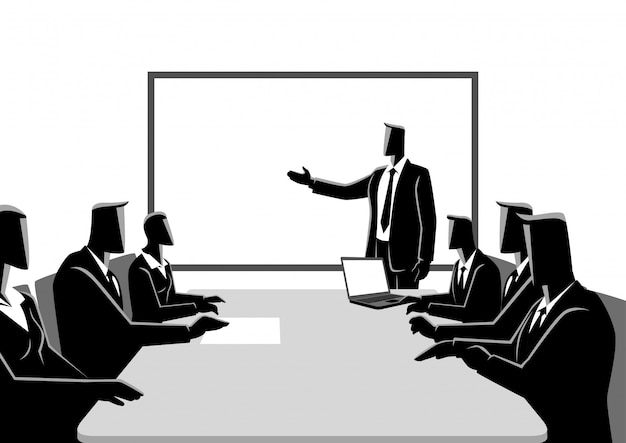 Business people having a meeting Premium Vector