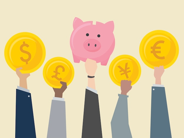 Business people holding currencies\ illustration