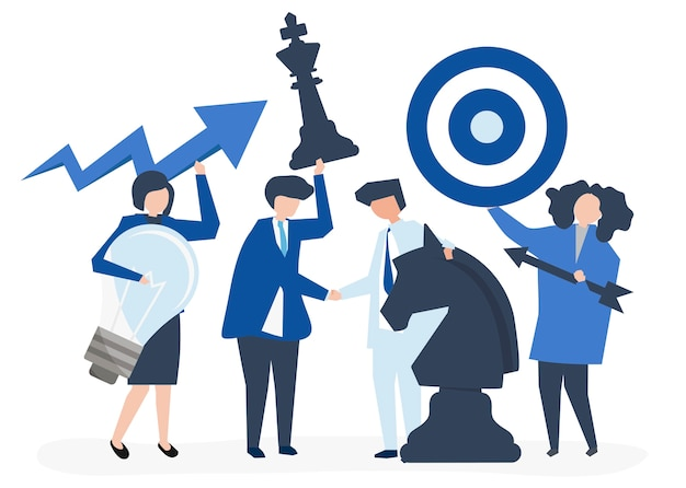 Business people holding goal and strategy icons\ illustration