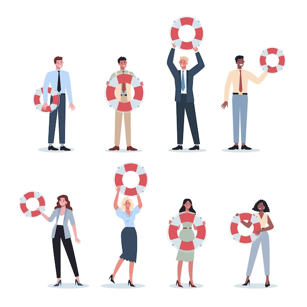 Business people holding a lifeline. lifeline as a metaphor for help and safety. idea of customer service. help people with problems. providing customer with valuable information. Premium Vector