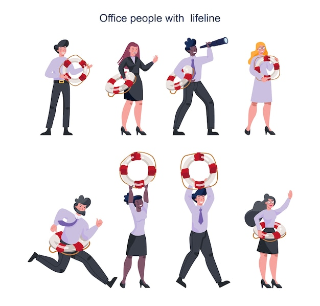 Business people holding a lifeline. lifeline as a metaphor for help Premium Vector