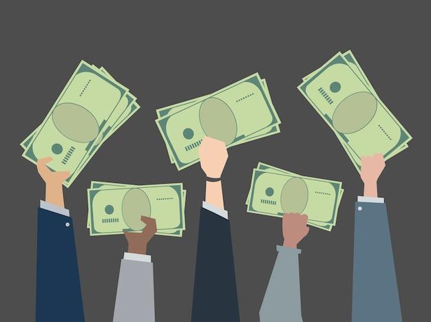 Business people holding money\ illustration