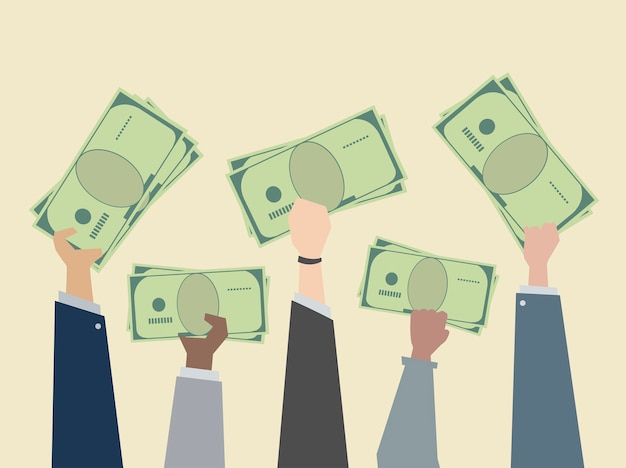 Business people holding money illustration Free Vector