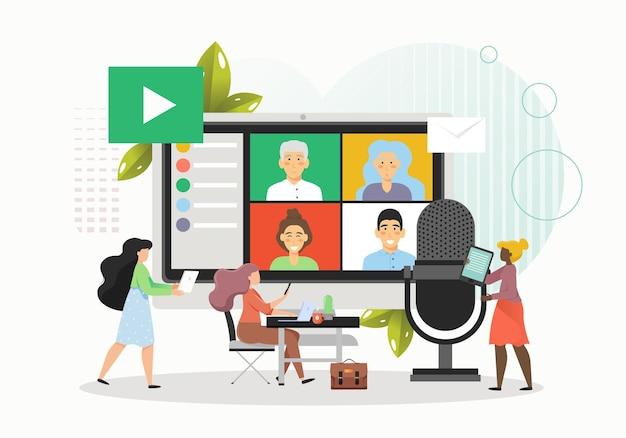 온라인 팀 회의 또는 화상 회의를 개최하는 사업 사람들 프리미엄 벡터