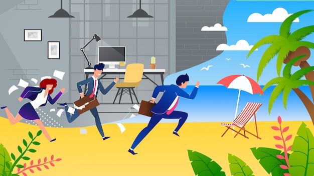 Business people hurry on vacation metaphor cartoon Premium Vector