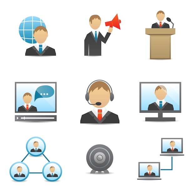 Business people icons set Free Vector