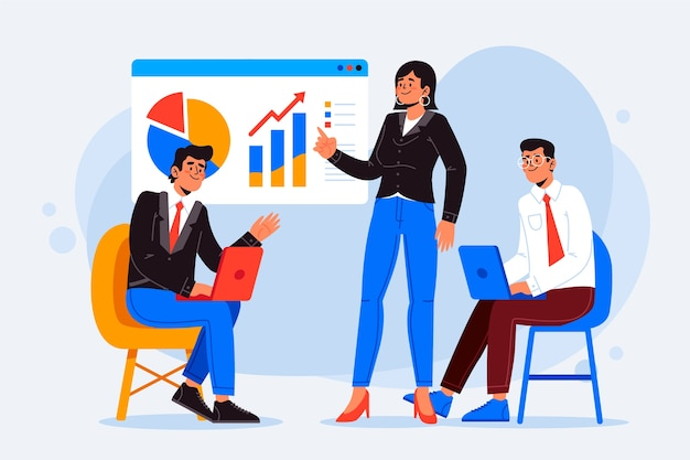 Business people illustration concept Free Vector