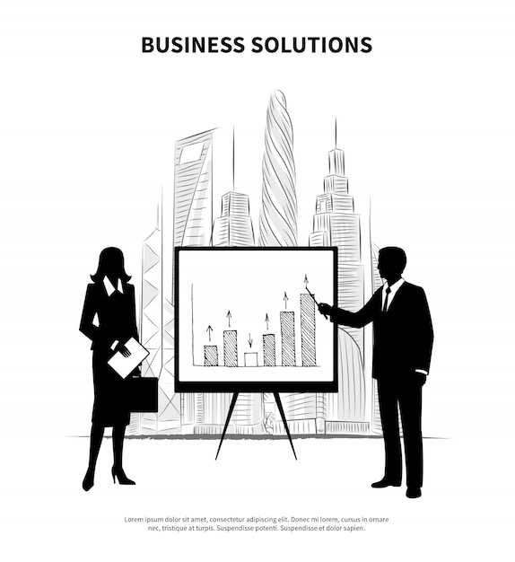 Business people illustration Free Vector